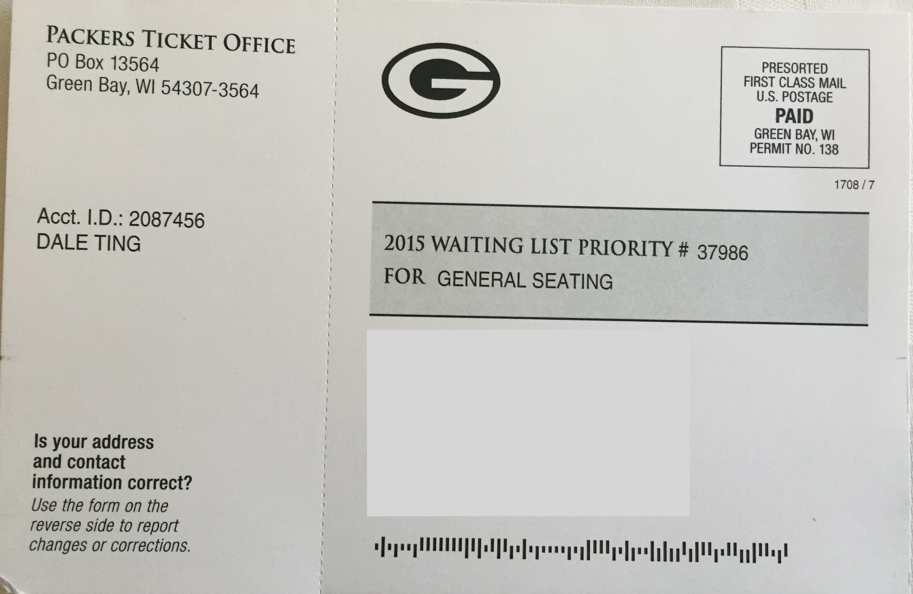 Packer Season Ticket 2015