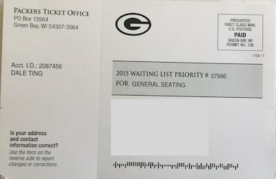 Packer Season Ticket 2015